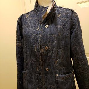 Chico's reversible denim quilted jacket - sz 3